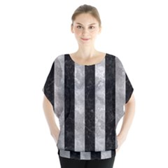 Stripes1 Black Marble & Gray Metal 2 Blouse by trendistuff