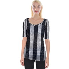Stripes1 Black Marble & Gray Metal 2 Wide Neckline Tee