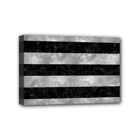 Stripes2 Black Marble & Gray Metal 2 Mini Canvas 6  X 4  by trendistuff