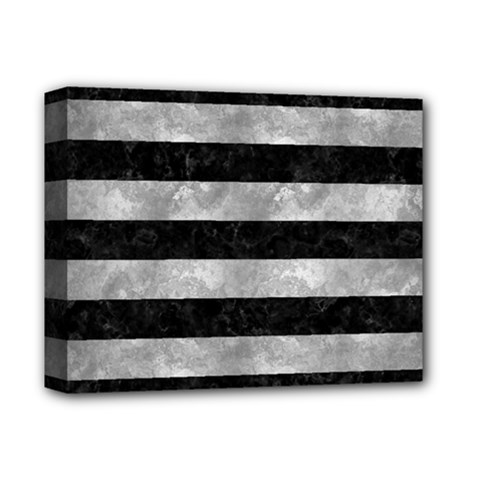 Stripes2 Black Marble & Gray Metal 2 Deluxe Canvas 14  X 11  by trendistuff