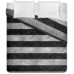 Stripes2 Black Marble & Gray Metal 2 Duvet Cover Double Side (california King Size) by trendistuff