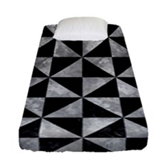 Triangle1 Black Marble & Gray Metal 2 Fitted Sheet (single Size) by trendistuff