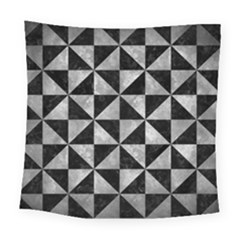Triangle1 Black Marble & Gray Metal 2 Square Tapestry (large) by trendistuff