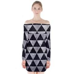 Triangle3 Black Marble & Gray Metal 2 Long Sleeve Off Shoulder Dress