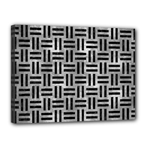 Woven1 Black Marble & Gray Metal 2 (r) Canvas 16  X 12  by trendistuff