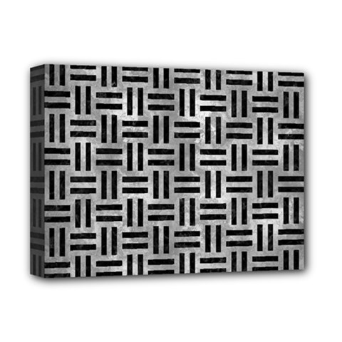 Woven1 Black Marble & Gray Metal 2 (r) Deluxe Canvas 16  X 12   by trendistuff