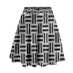 Woven1 Black Marble & Gray Metal 2 (r) High Waist Skirt by trendistuff