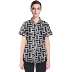 Woven1 Black Marble & Gray Metal 2 (r) Women s Short Sleeve Shirt