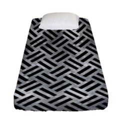 Woven2 Black Marble & Gray Metal 2 (r) Fitted Sheet (single Size) by trendistuff