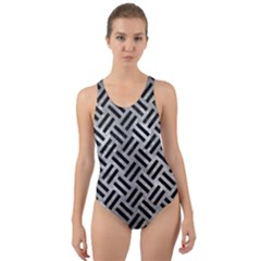 Woven2 Black Marble & Gray Metal 2 (r) Cut Out Back One Piece Swimsuit
