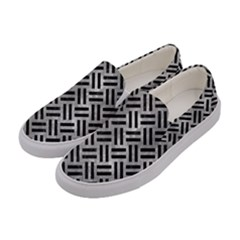 Woven2 Black Marble & Gray Metal 2 (r) Women s Canvas Slip Ons by trendistuff