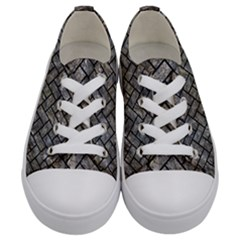 Brick2 Black Marble & Gray Stone (r) Kids  Low Top Canvas Sneakers