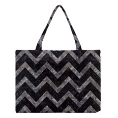 Chevron9 Black Marble & Gray Stone Medium Tote Bag by trendistuff