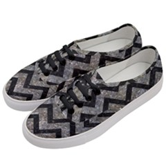 Chevron9 Black Marble & Gray Stone (r) Women s Classic Low Top Sneakers by trendistuff