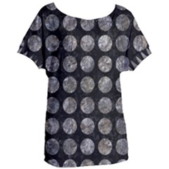 Circles1 Black Marble & Gray Stone Women s Oversized Tee
