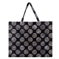 Circles2 Black Marble & Gray Stone Zipper Large Tote Bag by trendistuff