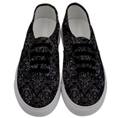 Damask1 Black Marble & Gray Stone Men s Classic Low Top Sneakers