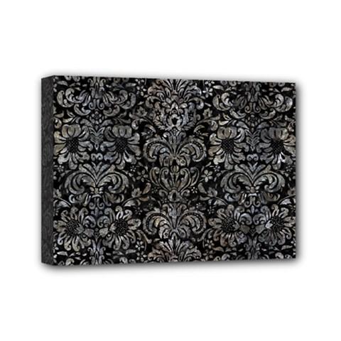 Damask2 Black Marble & Gray Stone Mini Canvas 7  X 5  by trendistuff