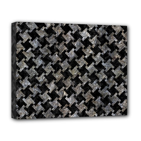 Houndstooth2 Black Marble & Gray Stone Deluxe Canvas 20  X 16   by trendistuff
