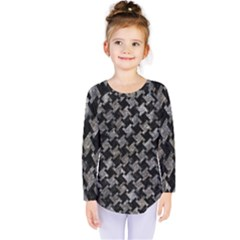 Houndstooth2 Black Marble & Gray Stone Kids  Long Sleeve Tee