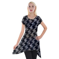 Houndstooth2 Black Marble & Gray Stone Short Sleeve Side Drop Tunic by trendistuff