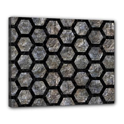 Hexagon2 Black Marble & Gray Stone (r) Canvas 20  X 16  by trendistuff