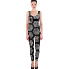 Hexagon2 Black Marble & Gray Stone (r) Onepiece Catsuit
