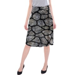 Skin1 Black Marble & Gray Stone Midi Beach Skirt by trendistuff