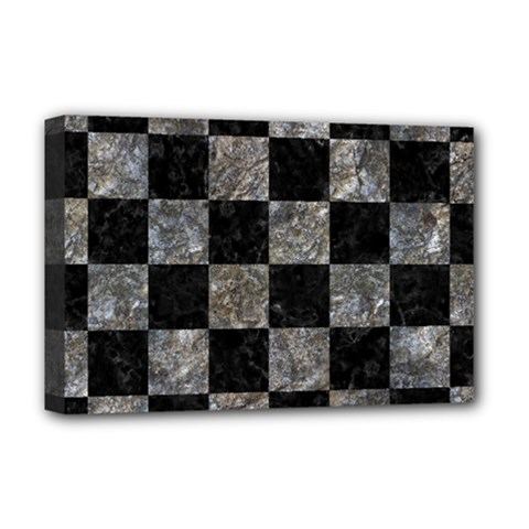 Square1 Black Marble & Gray Stone Deluxe Canvas 18  X 12   by trendistuff