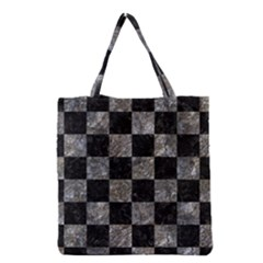 Square1 Black Marble & Gray Stone Grocery Tote Bag by trendistuff