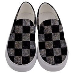 Square1 Black Marble & Gray Stone Men s Canvas Slip Ons
