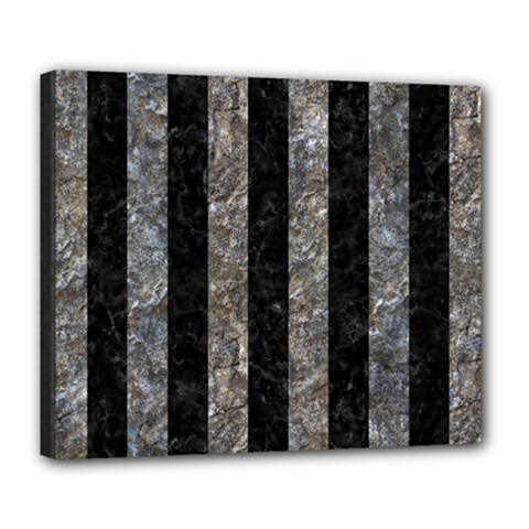 Stripes1 Black Marble & Gray Stone Deluxe Canvas 24  X 20   by trendistuff