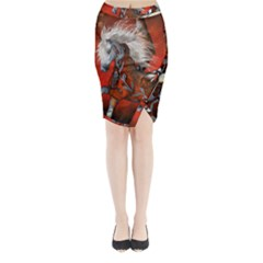 Awesome Steampunk Horse With Wings Midi Wrap Pencil Skirt