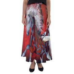 Awesome Steampunk Horse With Wings Flared Maxi Skirt by FantasyWorld7