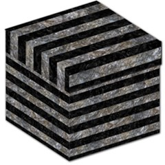 Stripes2 Black Marble & Gray Stone Storage Stool 12   by trendistuff