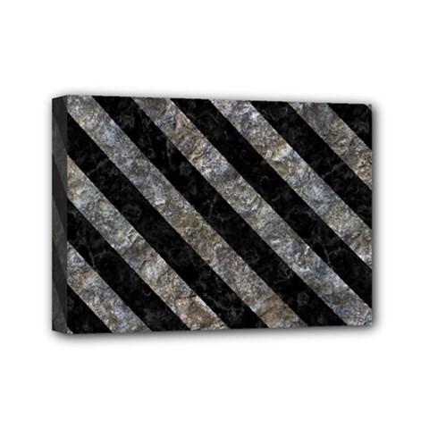 Stripes3 Black Marble & Gray Stone (r) Mini Canvas 7  X 5  by trendistuff