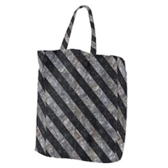 Stripes3 Black Marble & Gray Stone (r) Giant Grocery Zipper Tote