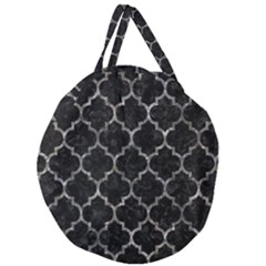 Tile1 Black Marble & Gray Stone Giant Round Zipper Tote