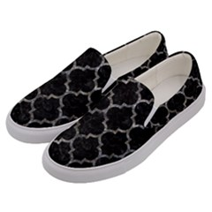 Tile1 Black Marble & Gray Stone Men s Canvas Slip Ons by trendistuff