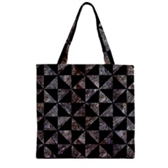 Triangle1 Black Marble & Gray Stone Zipper Grocery Tote Bag by trendistuff