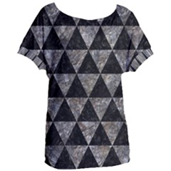 Triangle3 Black Marble & Gray Stone Women s Oversized Tee