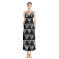 Triangle3 Black Marble & Gray Stone Button Up Chiffon Maxi Dress by trendistuff