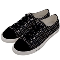 Woven1 Black Marble & Gray Stone Men s Low Top Canvas Sneakers by trendistuff
