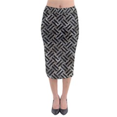 Woven2 Black Marble & Gray Stone (r) Midi Pencil Skirt by trendistuff