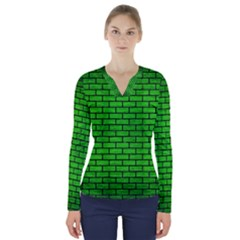 Brick1 Black Marble & Green Brushed Metal (r) V Neck Long Sleeve Top