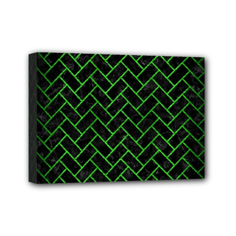 Brick2 Black Marble & Green Brushed Metal Mini Canvas 7  X 5  by trendistuff