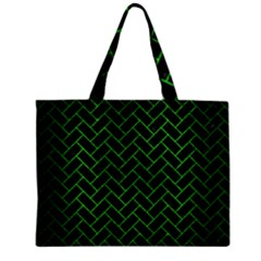 Brick2 Black Marble & Green Brushed Metal Zipper Mini Tote Bag by trendistuff
