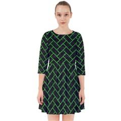 Brick2 Black Marble & Green Brushed Metal Smock Dress