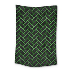 Brick2 Black Marble & Green Brushed Metal Small Tapestry by trendistuff