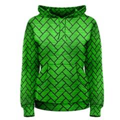Brick2 Black Marble & Green Brushed Metal (r) Women s Pullover Hoodie